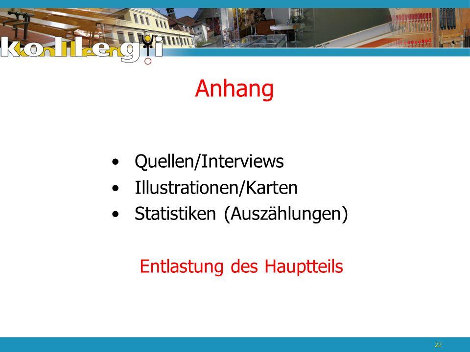 Anhang Quellen/Interviews Illustrationen/Karten Statistiken (Auszählungen) Entlastung des Hauptteils 22