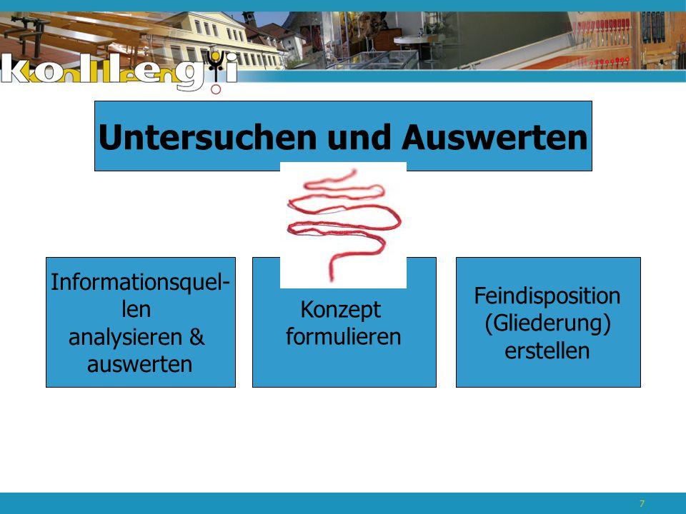 Untersuchen und Auswerten Informationsquel- len analysieren & auswerten Konzept formulieren Feindisposition (Gliederung) erstellen 7
