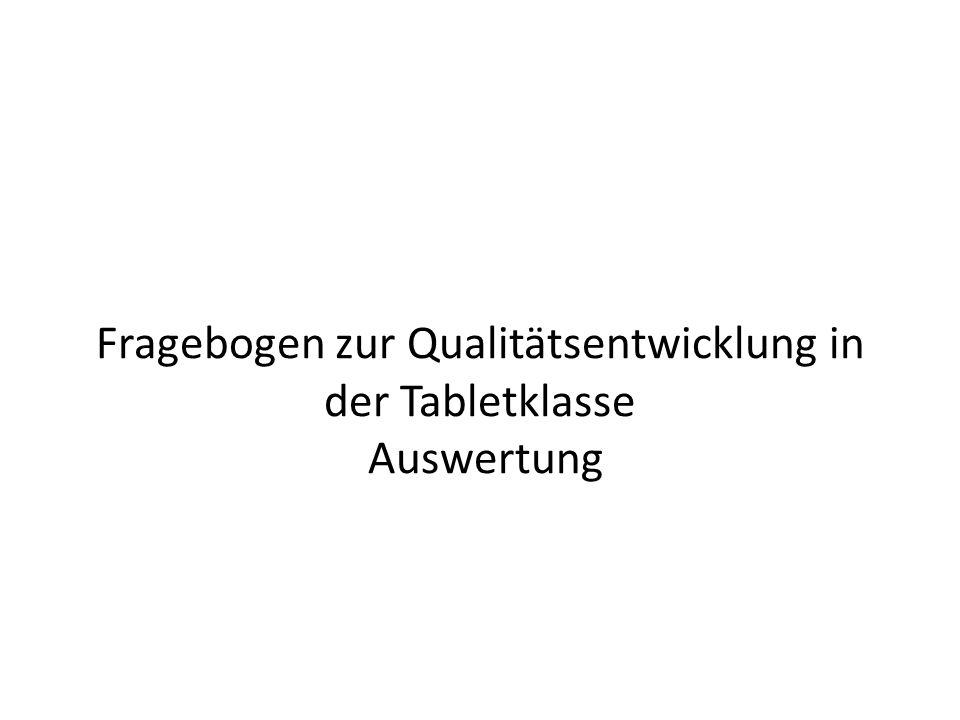 Fragebogen zur Qualitätsentwicklung in der Tabletklasse Auswertung