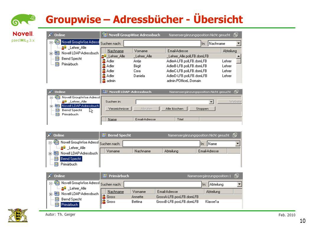 paed M L ® 3.x Feb. 2010 Autor: Th. Geiger 10 Groupwise – Adressbücher - Übersicht