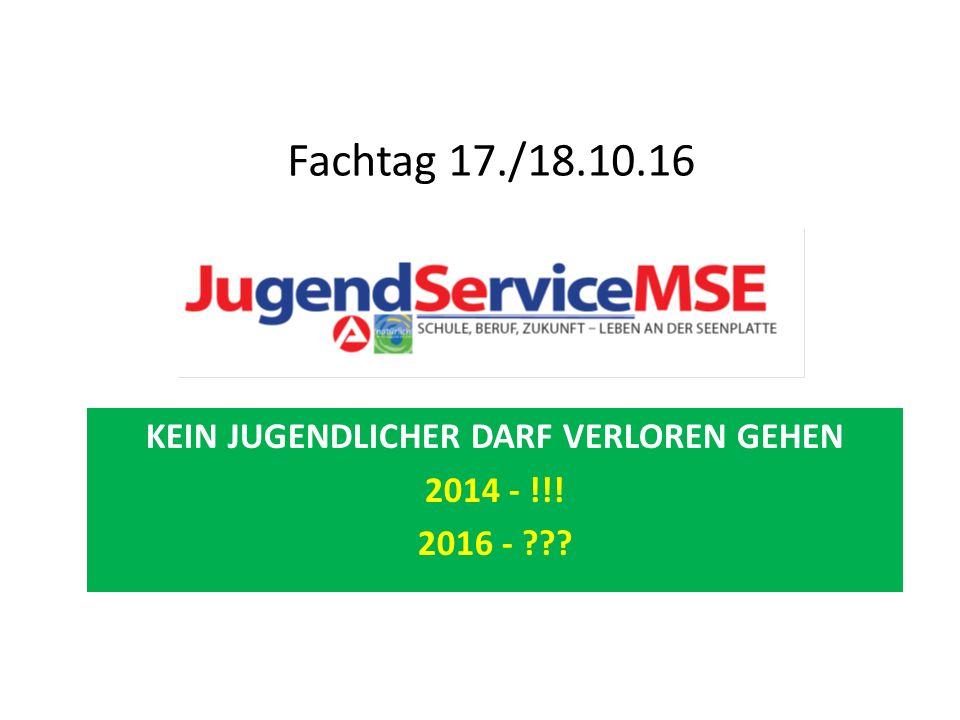 KEIN JUGENDLICHER DARF VERLOREN GEHEN 2014 - !!! 2016 - Fachtag 17./18.10.16