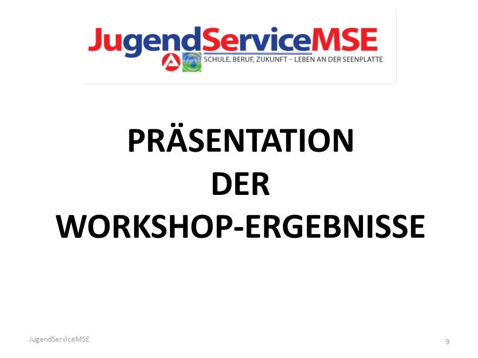 JugendServiceMSE 9 PRÄSENTATION DER WORKSHOP-ERGEBNISSE
