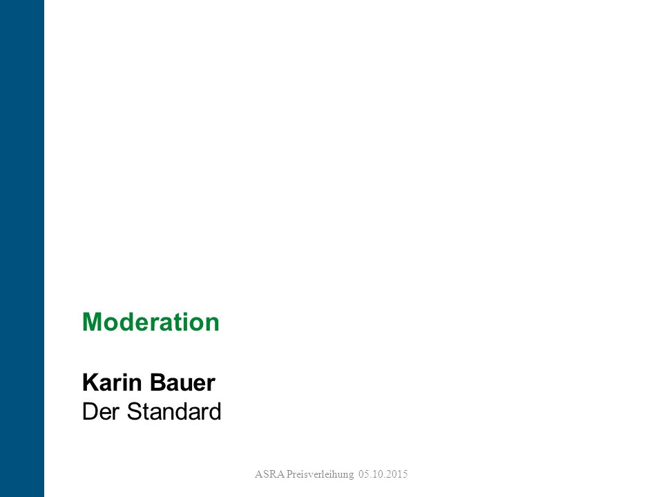2 Moderation Karin Bauer Der Standard ASRA Preisverleihung 05.10.2015