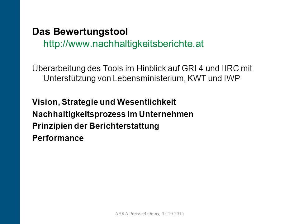 9 Das Bewertungstool http://www.nachhaltigkeitsberichte.at Überarbeitung des Tools im Hinblick auf GRI 4 und IIRC mit Unterstützung von Lebensministerium, KWT und IWP Vision, Strategie und Wesentlichkeit Nachhaltigkeitsprozess im Unternehmen Prinzipien der Berichterstattung Performance ASRA Preisverleihung 05.10.2015