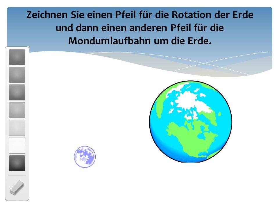 Zeichnen Sie einen Pfeil für die Rotation der Erde und dann einen anderen Pfeil für die Mondumlaufbahn um die Erde.