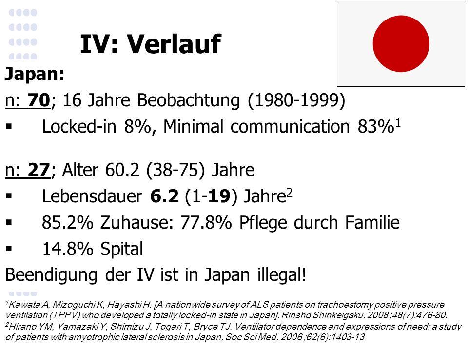 Japan: n: 70; 16 Jahre Beobachtung (1980-1999)  Locked-in 8%, Minimal communication 83% 1 n: 27; Alter 60.2 (38-75) Jahre  Lebensdauer 6.2 (1-19) Jahre 2  85.2% Zuhause: 77.8% Pflege durch Familie  14.8% Spital Beendigung der IV ist in Japan illegal.