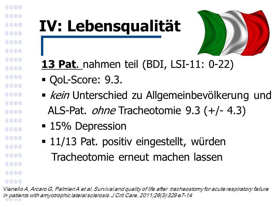 IV: Lebensqualität Vianell o A, Arcaro G, Palmieri A et al.