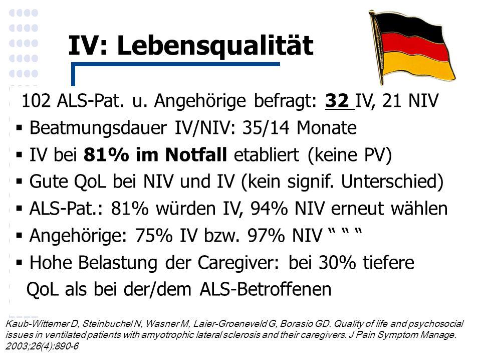 IV: Lebensqualität 102 ALS-Pat. u.