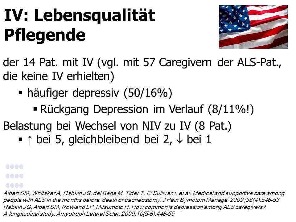 IV: Lebensqualität Pflegende der 14 Pat. mit IV (vgl.