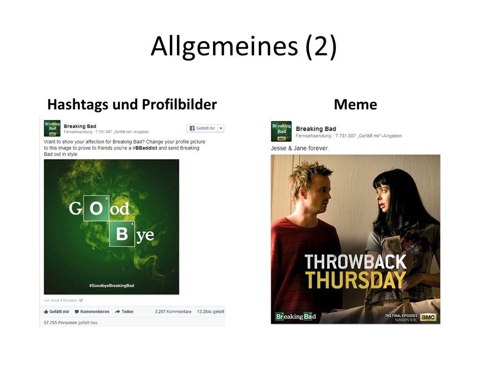 Allgemeines (2) Hashtags und ProfilbilderMeme