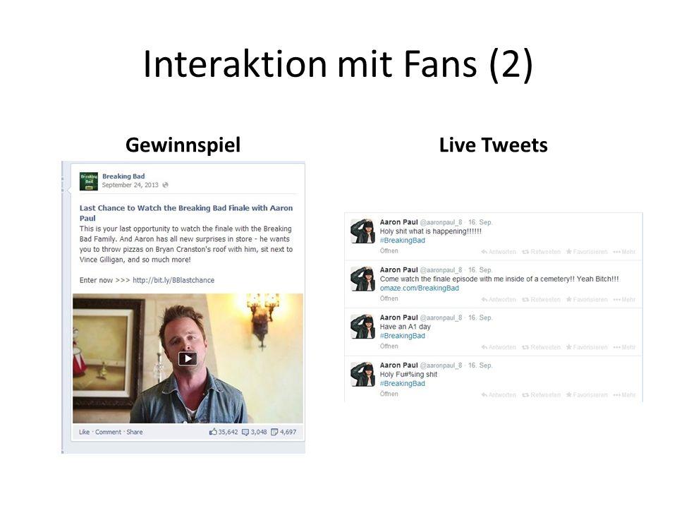 Interaktion mit Fans (2) GewinnspielLive Tweets