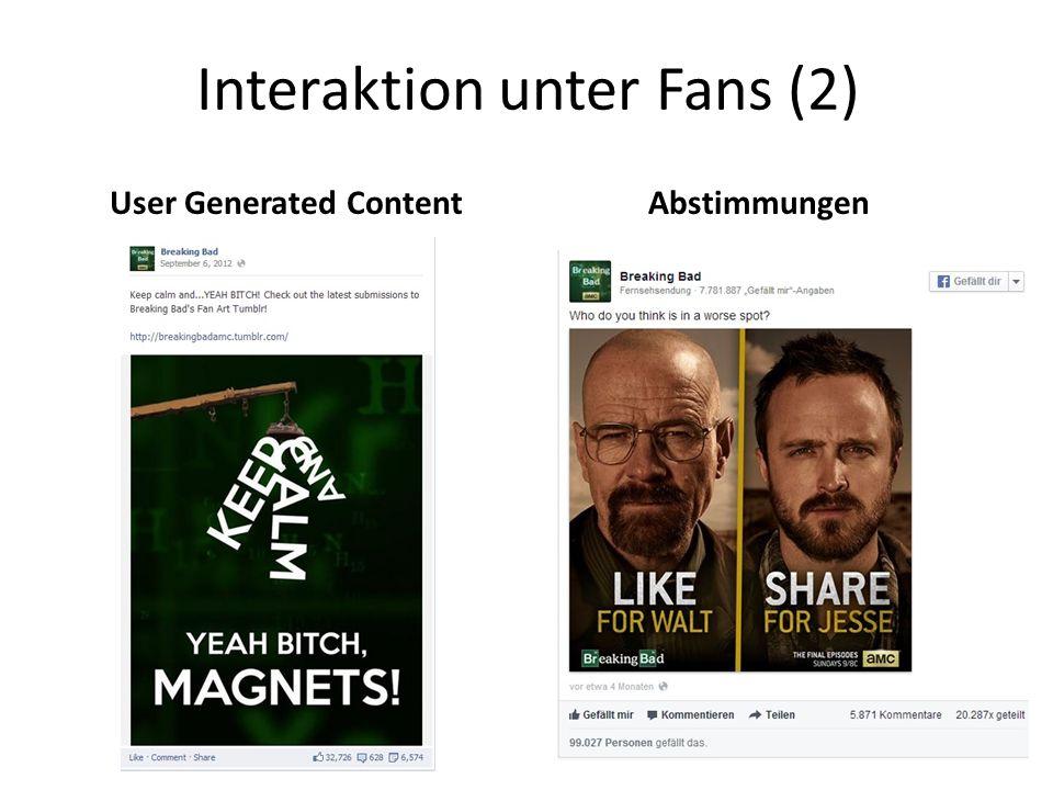 Interaktion unter Fans (2) User Generated ContentAbstimmungen