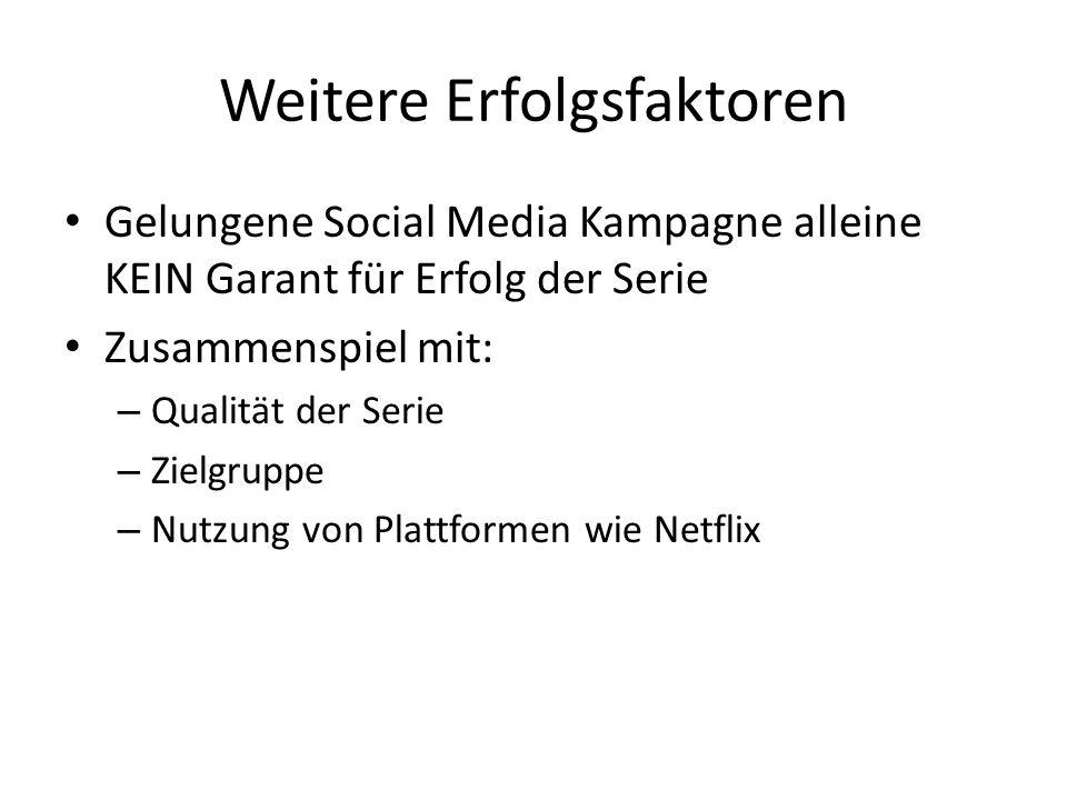 Weitere Erfolgsfaktoren Gelungene Social Media Kampagne alleine KEIN Garant für Erfolg der Serie Zusammenspiel mit: – Qualität der Serie – Zielgruppe – Nutzung von Plattformen wie Netflix