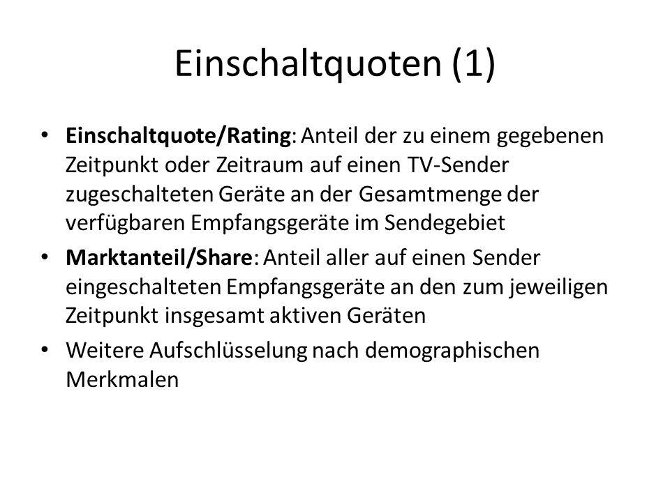 Einschaltquoten (1) Einschaltquote/Rating: Anteil der zu einem gegebenen Zeitpunkt oder Zeitraum auf einen TV-Sender zugeschalteten Geräte an der Gesamtmenge der verfügbaren Empfangsgeräte im Sendegebiet Marktanteil/Share: Anteil aller auf einen Sender eingeschalteten Empfangsgeräte an den zum jeweiligen Zeitpunkt insgesamt aktiven Geräten Weitere Aufschlüsselung nach demographischen Merkmalen