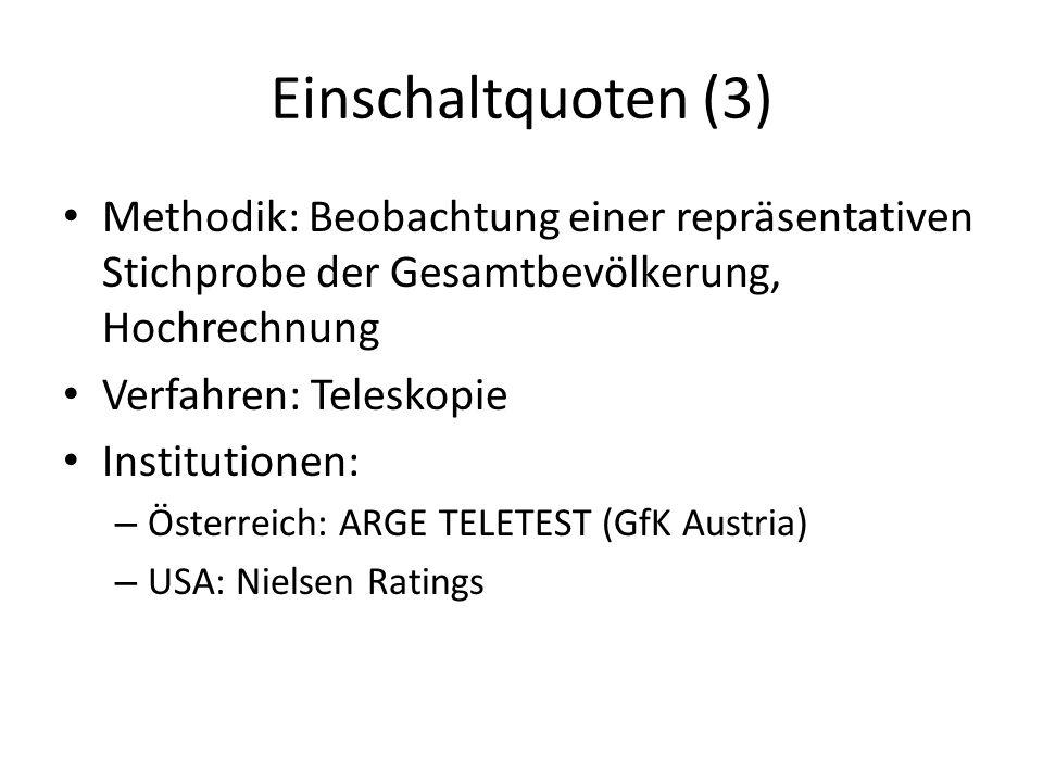 Einschaltquoten (3) Methodik: Beobachtung einer repräsentativen Stichprobe der Gesamtbevölkerung, Hochrechnung Verfahren: Teleskopie Institutionen: – Österreich: ARGE TELETEST (GfK Austria) – USA: Nielsen Ratings
