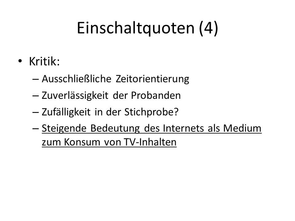 Einschaltquoten (4) Kritik: – Ausschließliche Zeitorientierung – Zuverlässigkeit der Probanden – Zufälligkeit in der Stichprobe.