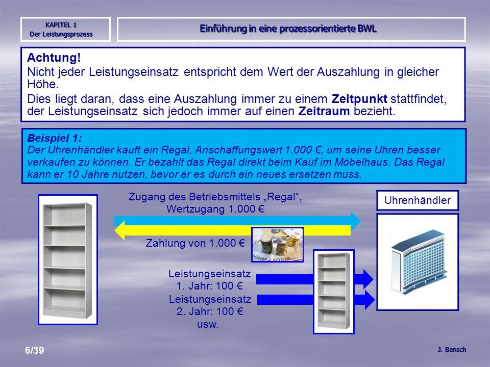 Einführung in eine prozessorientierte BWL J. Bensch KAPITEL 1 Der Leistungsprozess 6/39 Achtung.