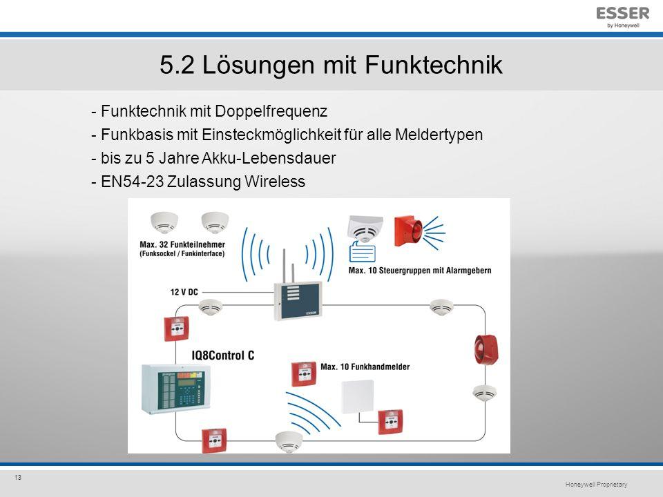 Honeywell Proprietary 13 5.2 Lösungen mit Funktechnik - Funktechnik mit Doppelfrequenz - Funkbasis mit Einsteckmöglichkeit für alle Meldertypen - bis zu 5 Jahre Akku-Lebensdauer - EN54-23 Zulassung Wireless