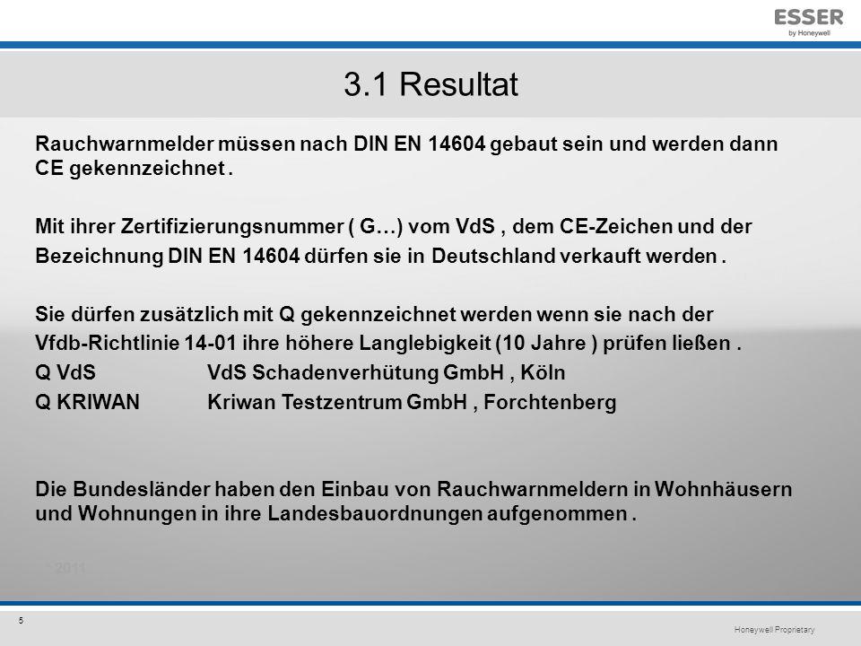 Honeywell Proprietary 5 3.1 Resultat Rauchwarnmelder müssen nach DIN EN 14604 gebaut sein und werden dann CE gekennzeichnet.