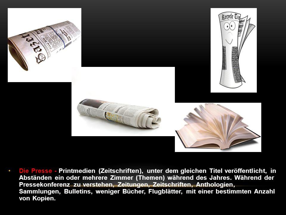 Die Presse - Printmedien (Zeitschriften), unter dem gleichen Titel veröffentlicht, in Abständen ein oder mehrere Zimmer (Themen) während des Jahres.