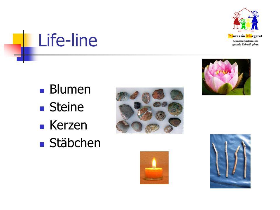 Life-line Blumen Steine Kerzen Stäbchen