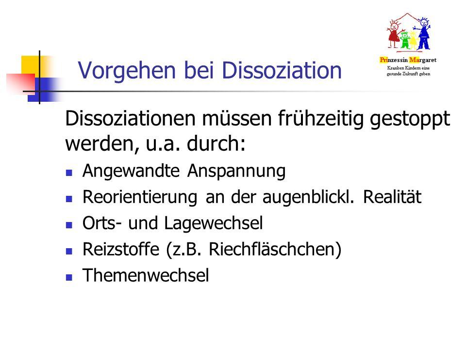 Vorgehen bei Dissoziation Dissoziationen müssen frühzeitig gestoppt werden, u.a.