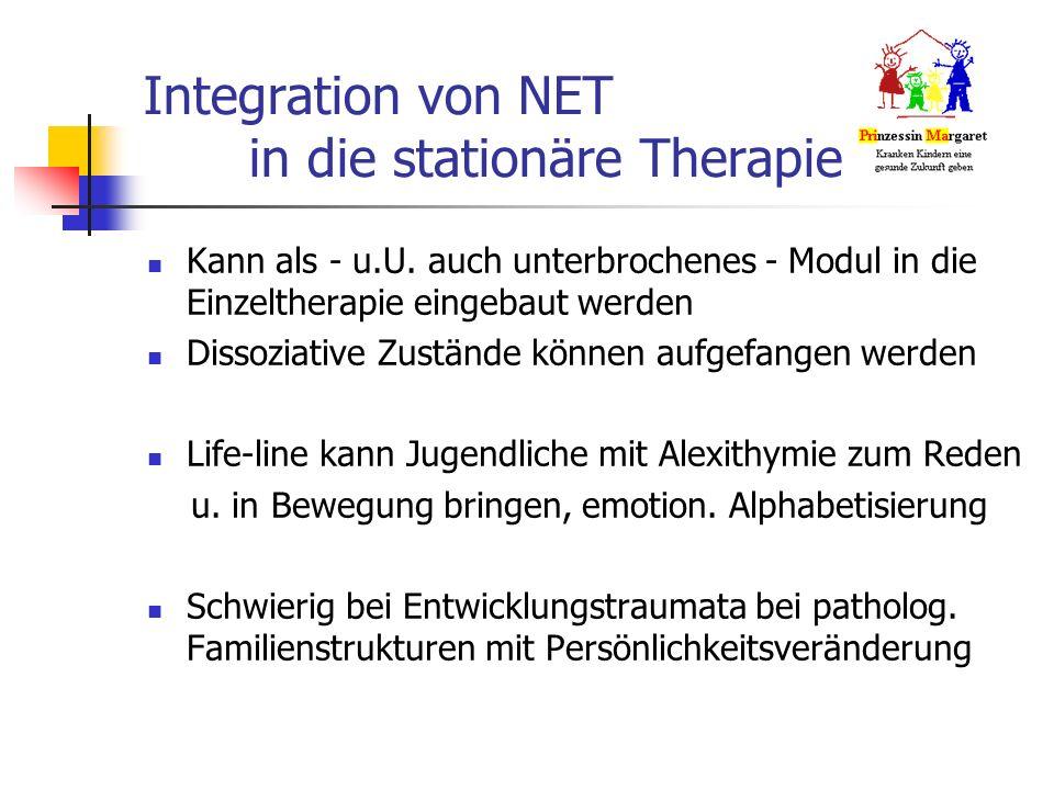 Integration von NET in die stationäre Therapie Kann als - u.U.