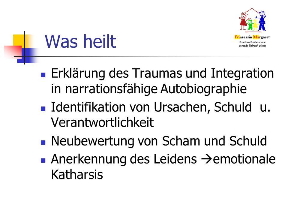 Was heilt Erklärung des Traumas und Integration in narrationsfähige Autobiographie Identifikation von Ursachen, Schuld u.