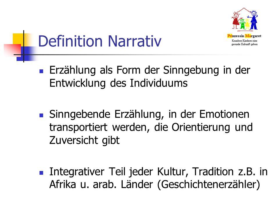 Definition Narrativ Erzählung als Form der Sinngebung in der Entwicklung des Individuums Sinngebende Erzählung, in der Emotionen transportiert werden, die Orientierung und Zuversicht gibt Integrativer Teil jeder Kultur, Tradition z.B.