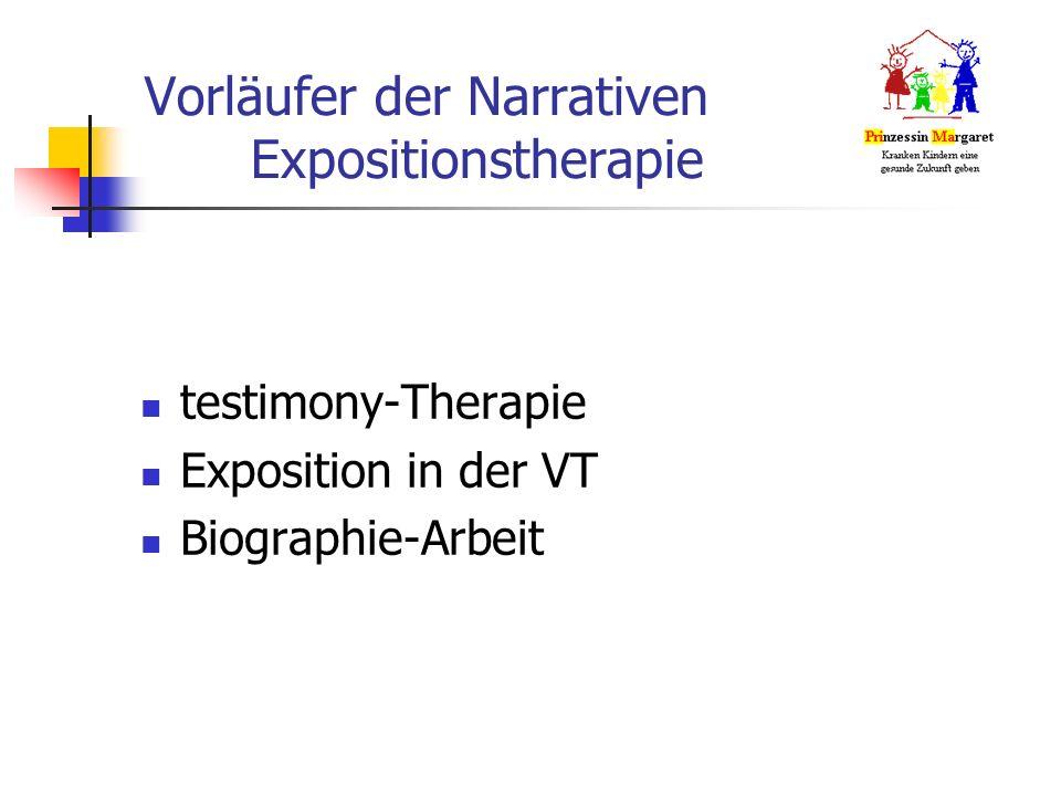 Vorläufer der Narrativen Expositionstherapie testimony-Therapie Exposition in der VT Biographie-Arbeit
