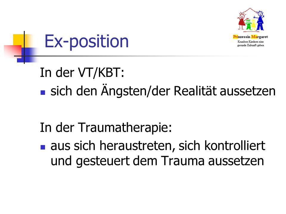 Ex-position In der VT/KBT: sich den Ängsten/der Realität aussetzen In der Traumatherapie: aus sich heraustreten, sich kontrolliert und gesteuert dem Trauma aussetzen