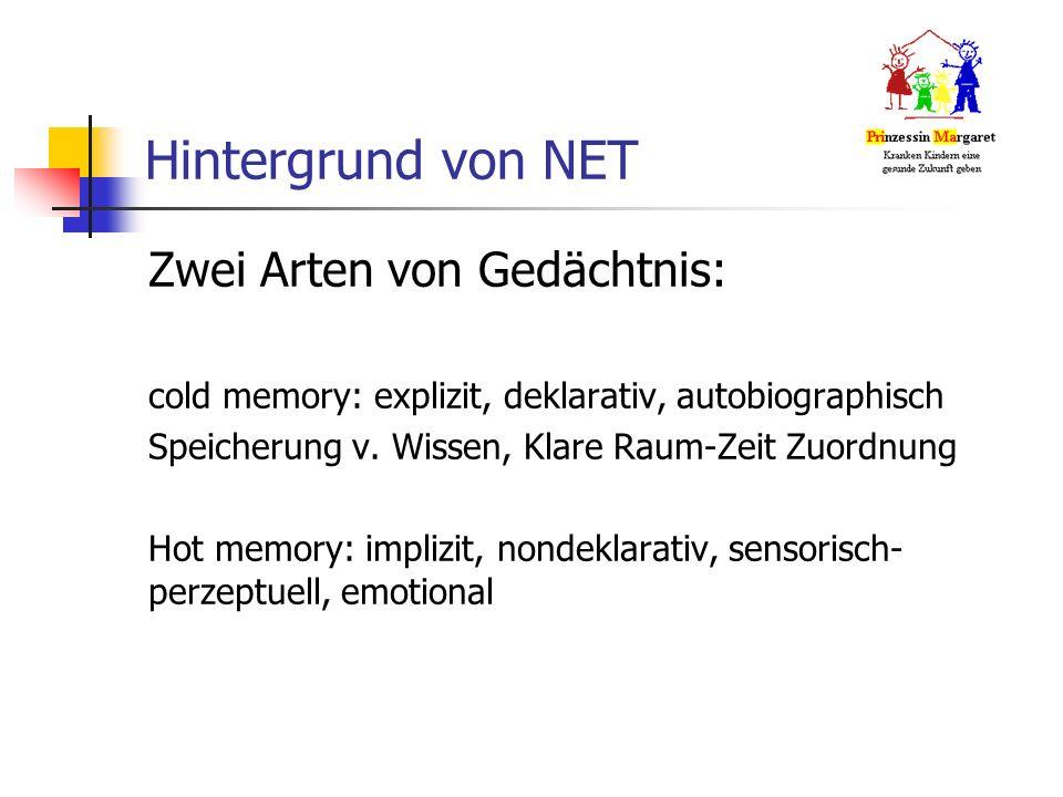 Hintergrund von NET Zwei Arten von Gedächtnis: cold memory: explizit, deklarativ, autobiographisch Speicherung v.