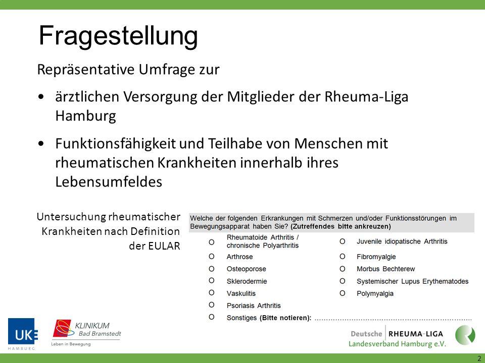 Fragestellung 2 Repräsentative Umfrage zur ärztlichen Versorgung der Mitglieder der Rheuma-Liga Hamburg Funktionsfähigkeit und Teilhabe von Menschen mit rheumatischen Krankheiten innerhalb ihres Lebensumfeldes Untersuchung rheumatischer Krankheiten nach Definition der EULAR