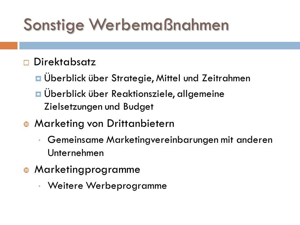 Sonstige Werbemaßnahmen  Direktabsatz  Überblick über Strategie, Mittel und Zeitrahmen  Überblick über Reaktionsziele, allgemeine Zielsetzungen und Budget  Marketing von Drittanbietern – Gemeinsame Marketingvereinbarungen mit anderen Unternehmen  Marketingprogramme – Weitere Werbeprogramme