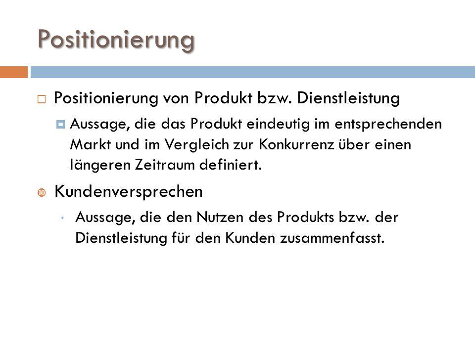 Positionierung  Positionierung von Produkt bzw.