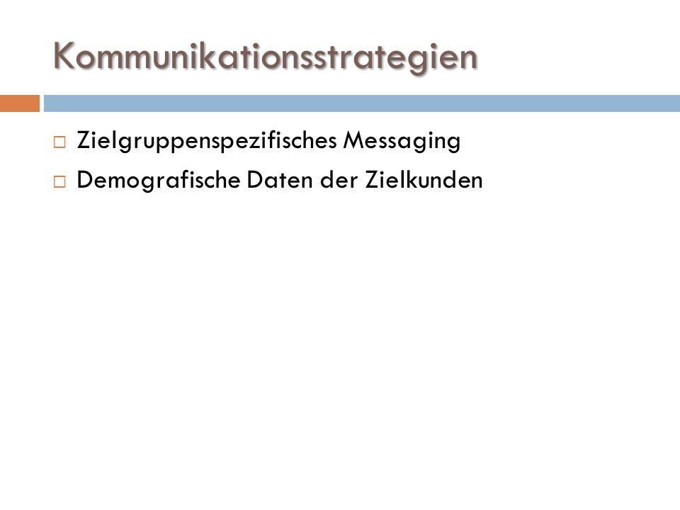 Kommunikationsstrategien  Zielgruppenspezifisches Messaging  Demografische Daten der Zielkunden
