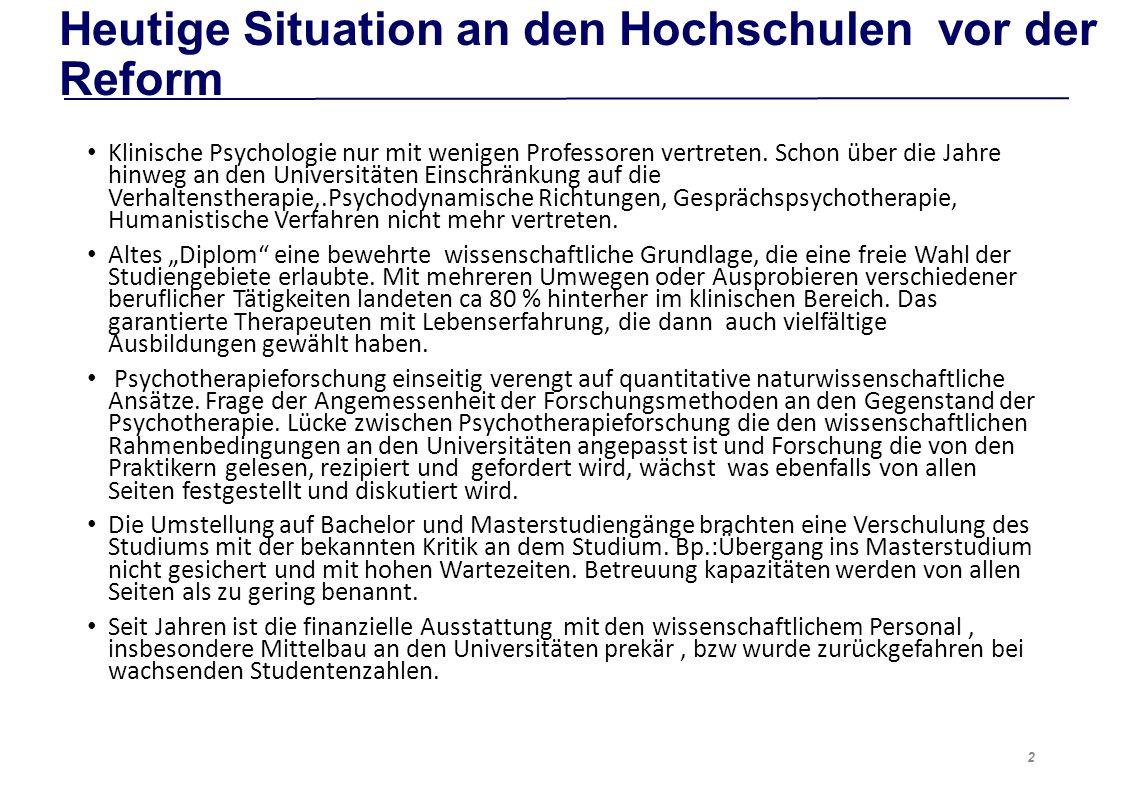 Heutige Situation an den Hochschulen vor der Reform Klinische Psychologie nur mit wenigen Professoren vertreten.