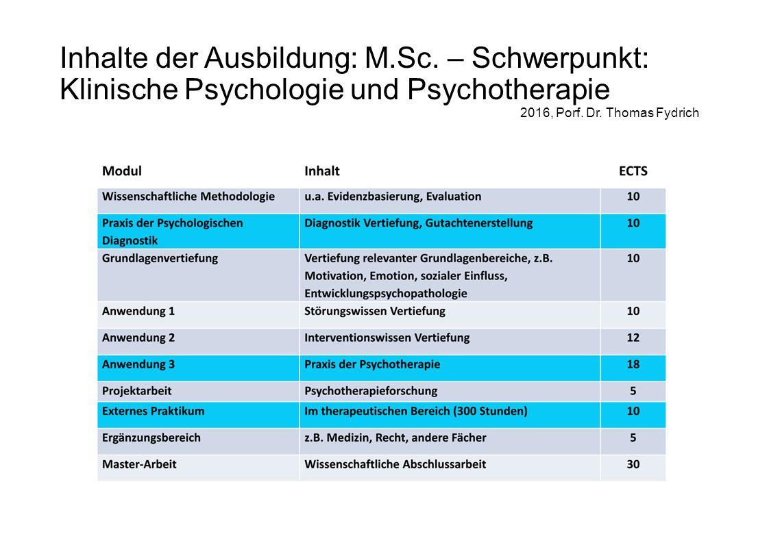 Inhalte der Ausbildung: M.Sc. – Schwerpunkt: Klinische Psychologie und Psychotherapie 2016, Porf.