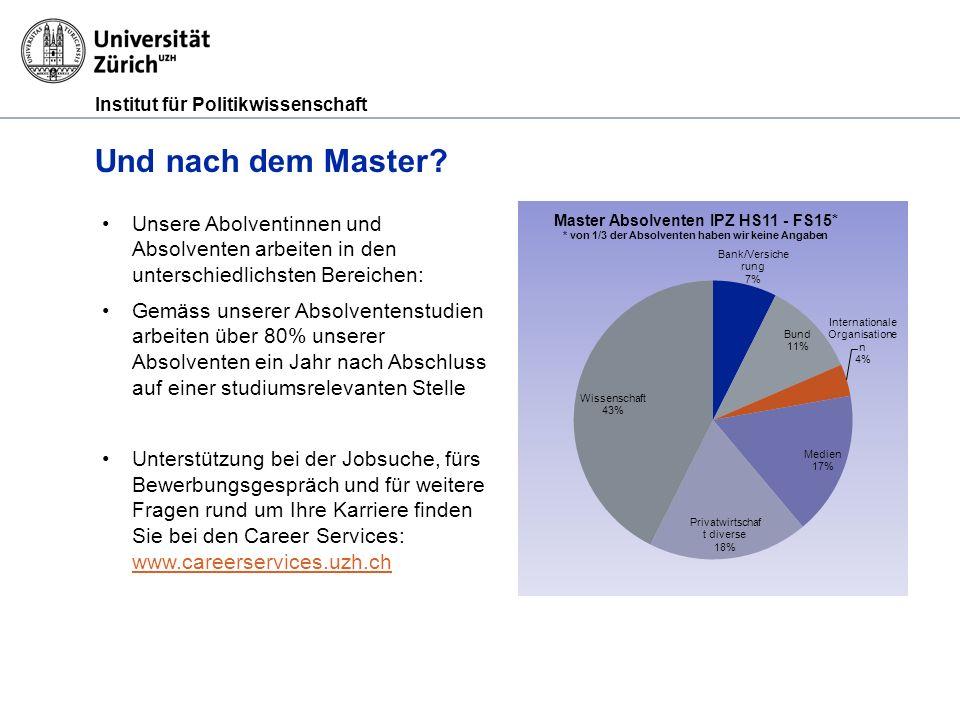 Institut für Politikwissenschaft Und nach dem Master.