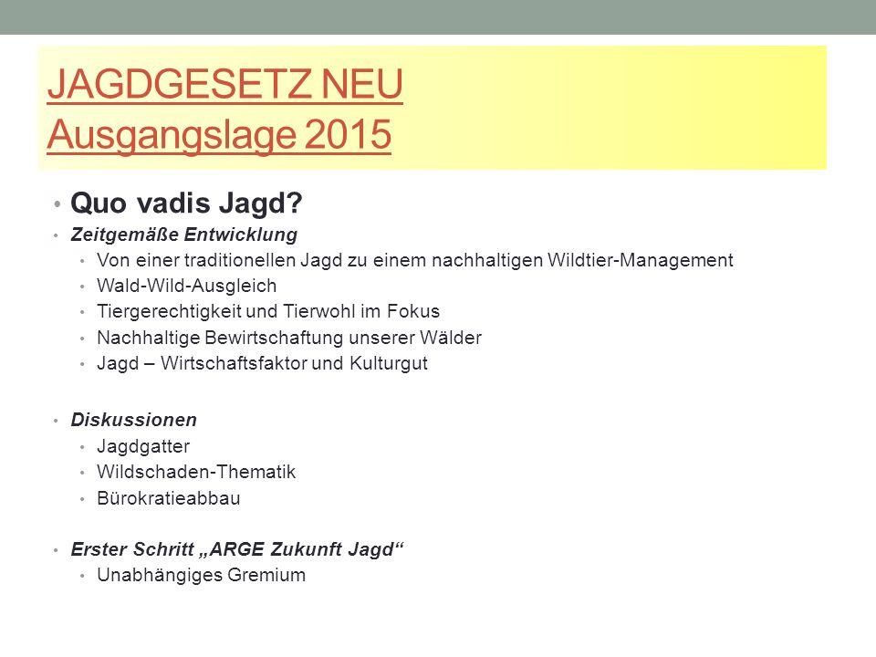 JAGDGESETZ NEU Ausgangslage 2015 Quo vadis Jagd.