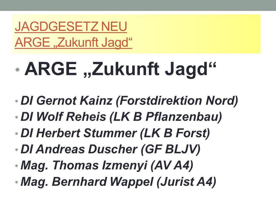 """JAGDGESETZ NEU ARGE """"Zukunft Jagd ARGE """"Zukunft Jagd DI Gernot Kainz (Forstdirektion Nord) DI Wolf Reheis (LK B Pflanzenbau) DI Herbert Stummer (LK B Forst) DI Andreas Duscher (GF BLJV) Mag."""