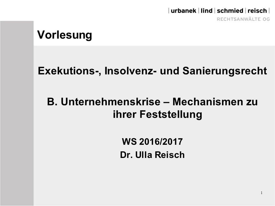 1 Vorlesung Exekutions-, Insolvenz- und Sanierungsrecht B.