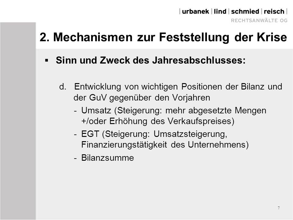 2. Mechanismen zur Feststellung der Krise  Sinn und Zweck des Jahresabschlusses: d.