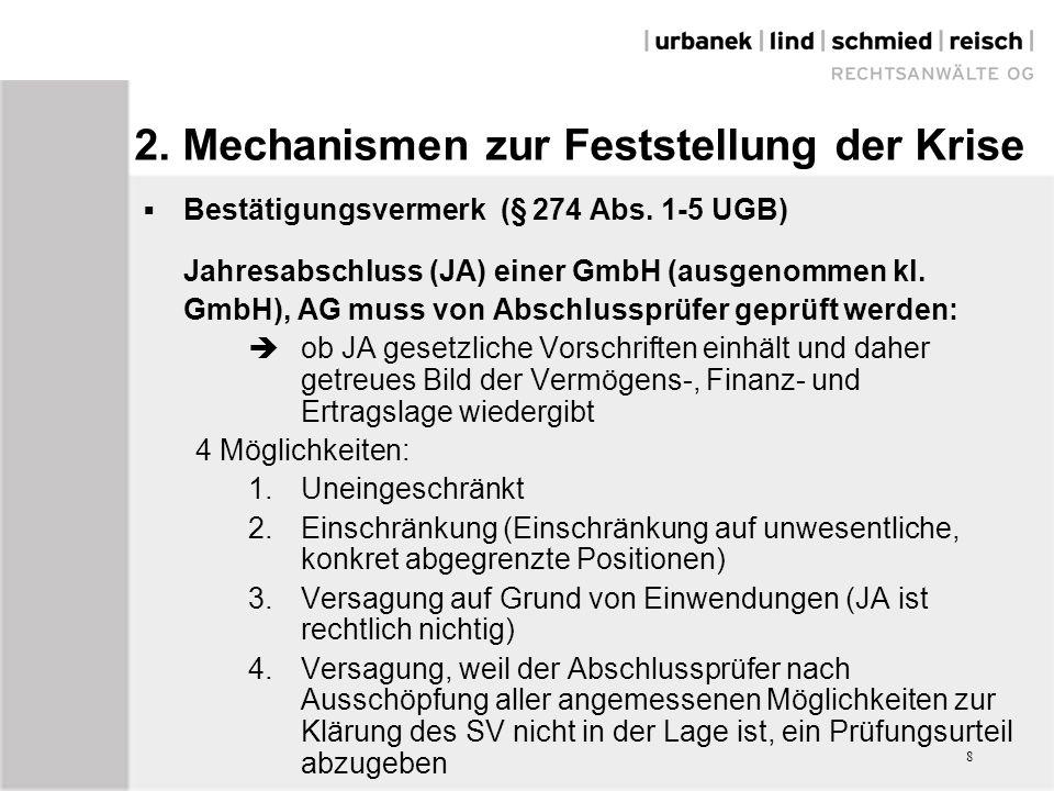 8 2. Mechanismen zur Feststellung der Krise  Bestätigungsvermerk (§ 274 Abs.