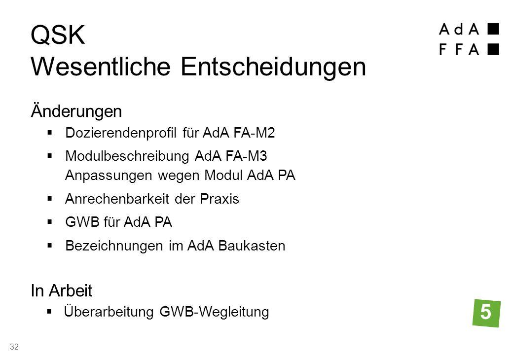 Dozierendenprofil für AdA FA-M2  Modulbeschreibung AdA FA-M3 Anpassungen wegen Modul AdA PA  Anrechenbarkeit der Praxis  GWB für AdA PA  Bezeichnungen im AdA Baukasten QSK Wesentliche Entscheidungen Änderungen 5  Überarbeitung GWB-Wegleitung In Arbeit 32