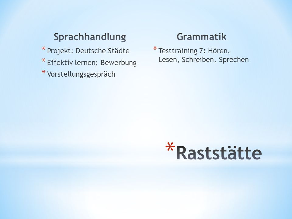 * Projekt: Deutsche Städte * Effektiv lernen; Bewerbung * Vorstellungsgespräch * Testtraining 7: Hören, Lesen, Schreiben, Sprechen