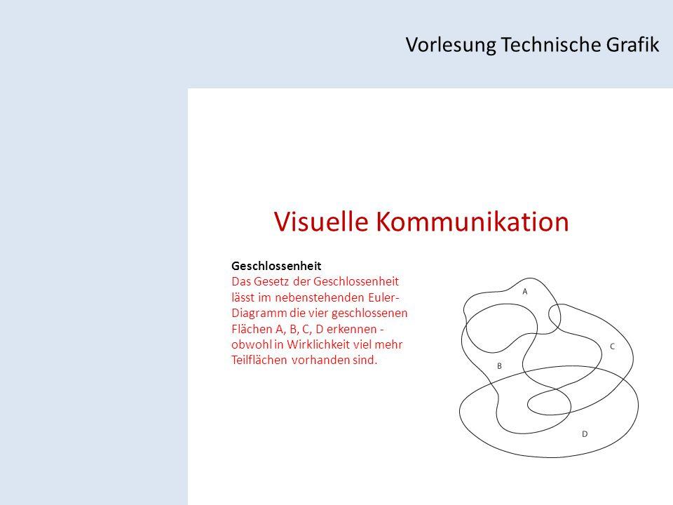 Visuelle Kommunikation Vorlesung Technische Grafik Geschlossenheit Das Gesetz der Geschlossenheit lässt im nebenstehenden Euler- Diagramm die vier geschlossenen Flächen A, B, C, D erkennen - obwohl in Wirklichkeit viel mehr Teilflächen vorhanden sind.