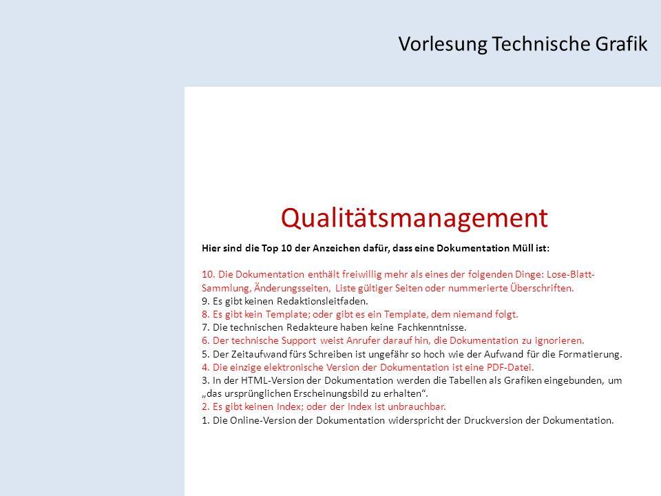 Qualitätsmanagement Vorlesung Technische Grafik Hier sind die Top 10 der Anzeichen dafür, dass eine Dokumentation Müll ist: 10.