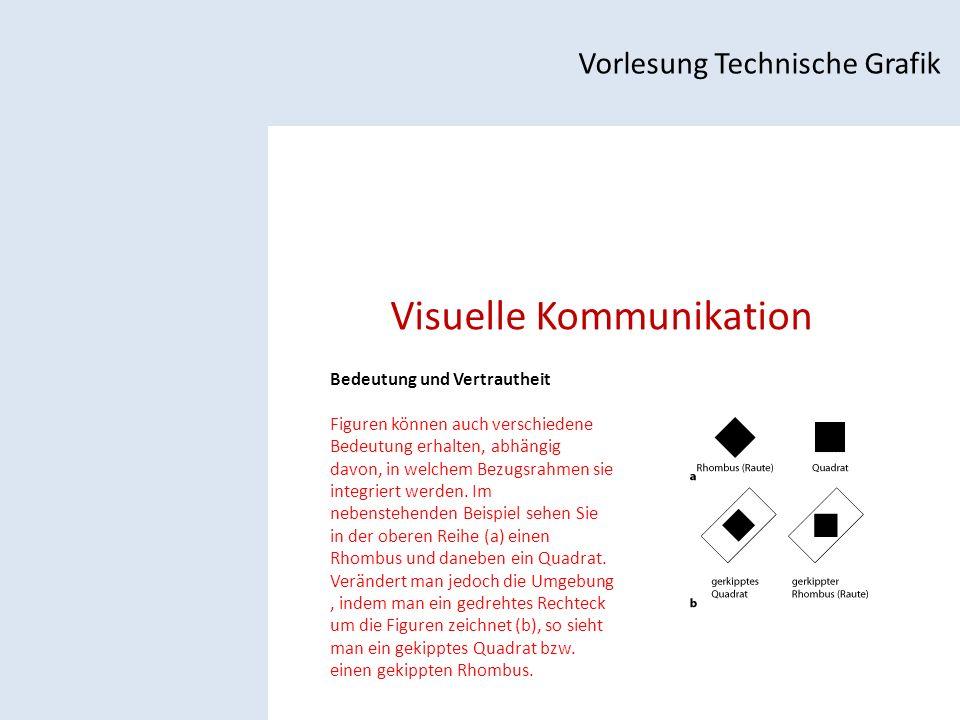 Visuelle Kommunikation Vorlesung Technische Grafik Bedeutung und Vertrautheit Figuren können auch verschiedene Bedeutung erhalten, abhängig davon, in welchem Bezugsrahmen sie integriert werden.