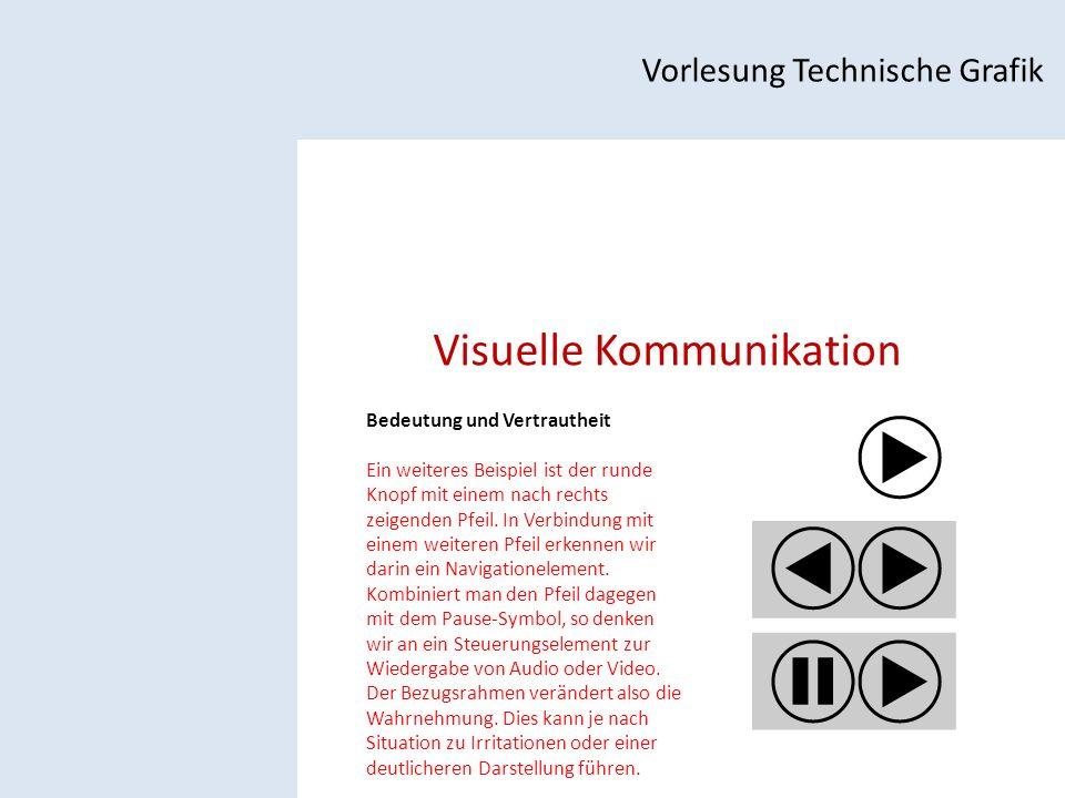 Visuelle Kommunikation Vorlesung Technische Grafik Bedeutung und Vertrautheit Ein weiteres Beispiel ist der runde Knopf mit einem nach rechts zeigenden Pfeil.